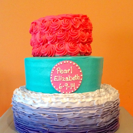 Photo of a three tier birthday cake in various colors and textures